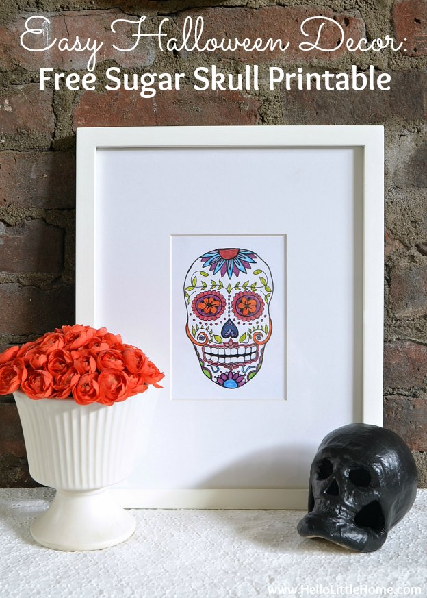 Easy Halloween Decor: Free Sugar Skull Printable | Hello Little Home #DayoftheDead #DiadeMuerto #SugarSkull #Printables