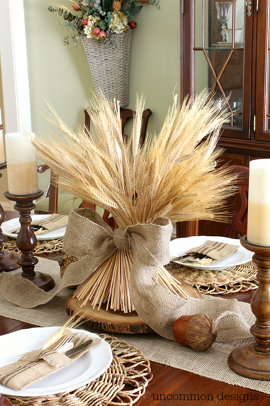 Fall DIY Ideas: Fall Wheat Bundle Centerpiece by Uncommon Designs   Hello Little Home #DIY #crafts