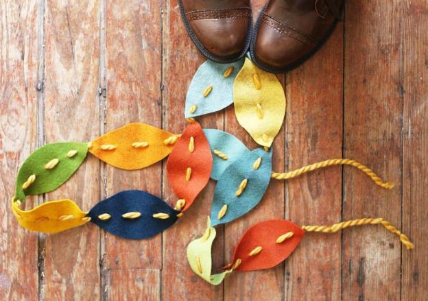 Fall DIY Ideas: Felt Leaves Garland by A Beautiful Mess   Hello Little Home #DIY #crafts