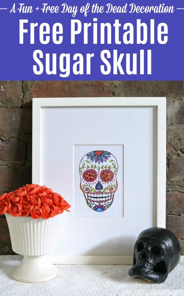 Free Printable Sugar Skull artwork in a frame.