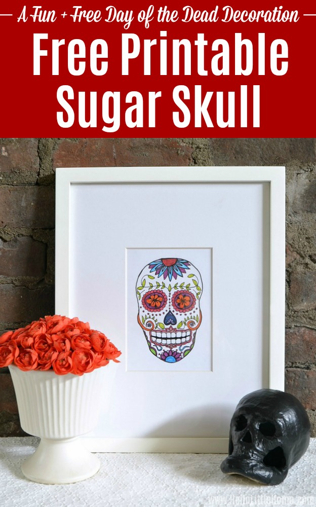 Free Printable Sugar Skull in a white frame.