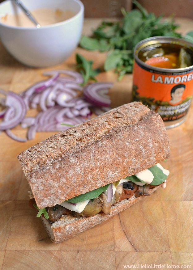 Garlicky Mushroom and Chipotle Refried Bean Tortas with La Morena | Hello Little Home #MexicanFood #VivaLaMorena #CollectiveBias #shop