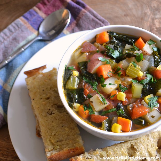 40+ Hearty Vegetarian Soup Recipes, including this Kitchen Sink Vegetable Soup, that will warm you up this fall and winter! | Hello Little Home