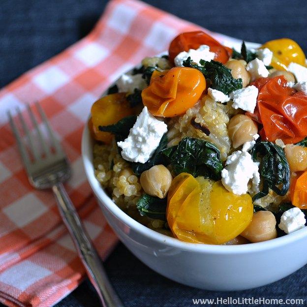 Quinoa with Roasted Tomatoes, Kale & Feta | Hello Little Home #Vegetarian #MeatlessMonday