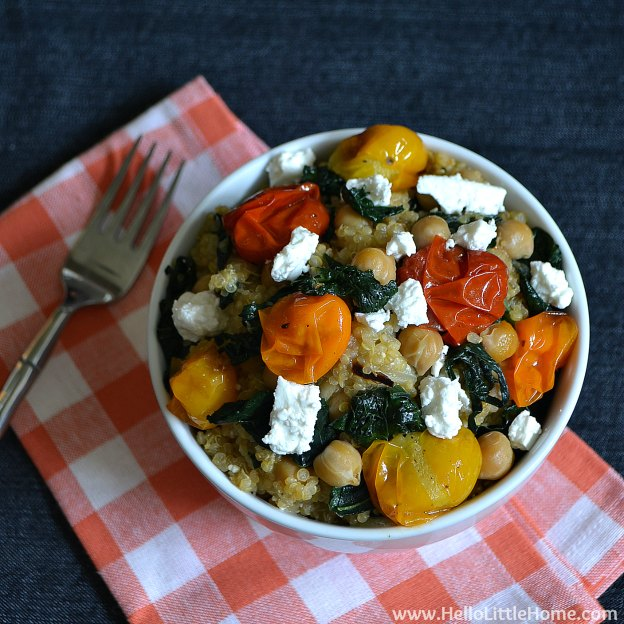 Quinoa with Roasted Tomatoes, Kale & Feta | Hello Little Home #Vegetarian #MeatlessMonday