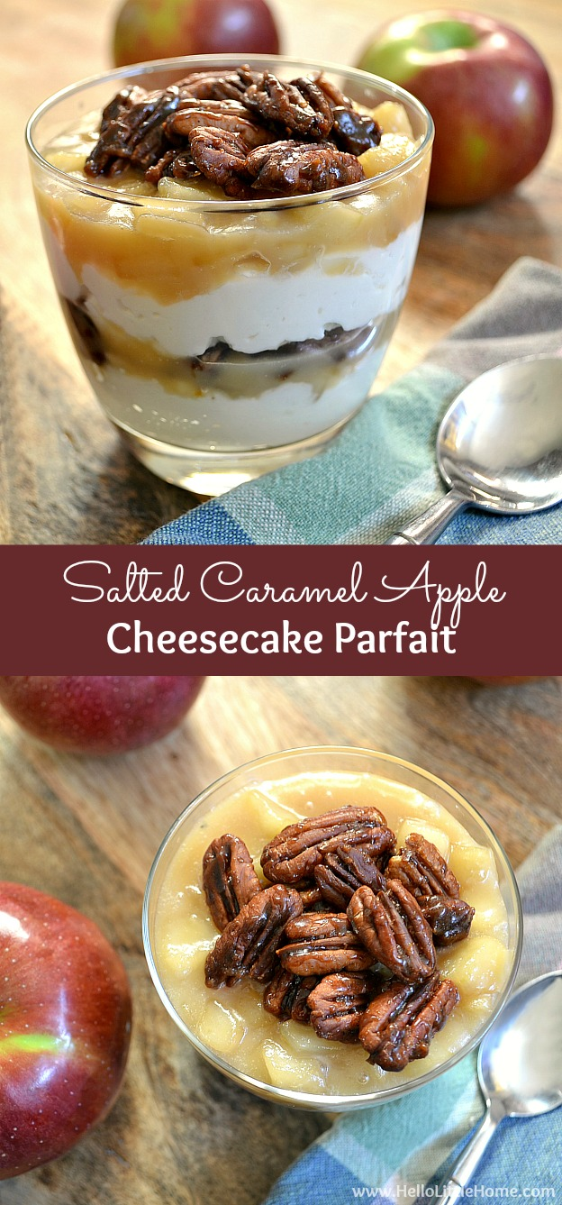 Salted Caramel Apple Cheesecake Parfait ... treat yourself to this easy and delicious fall dessert recipe! | Hello Little Home
