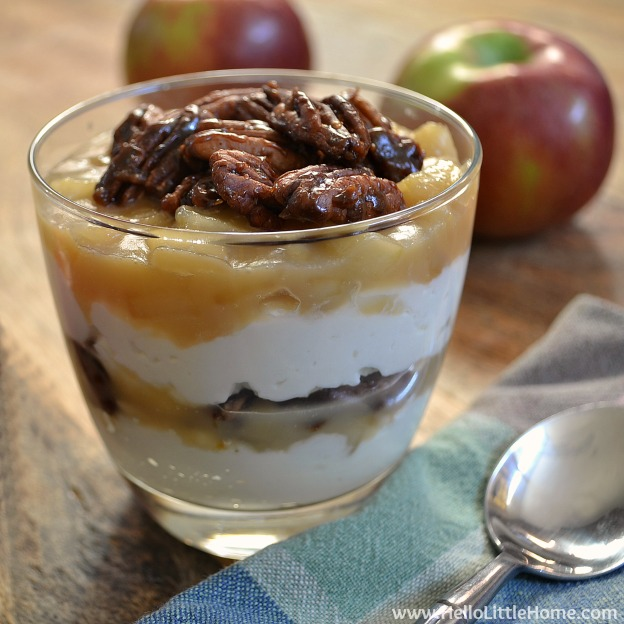Salted Caramel Apple Cheesecake Parfait ... yum! Get this easy recipe + 100 other vegetarian fall recipes that are perfect for any occassion! | Hello Little Home