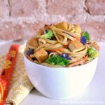 Vegetable Tofu Lo Mein recipe in a bowl.