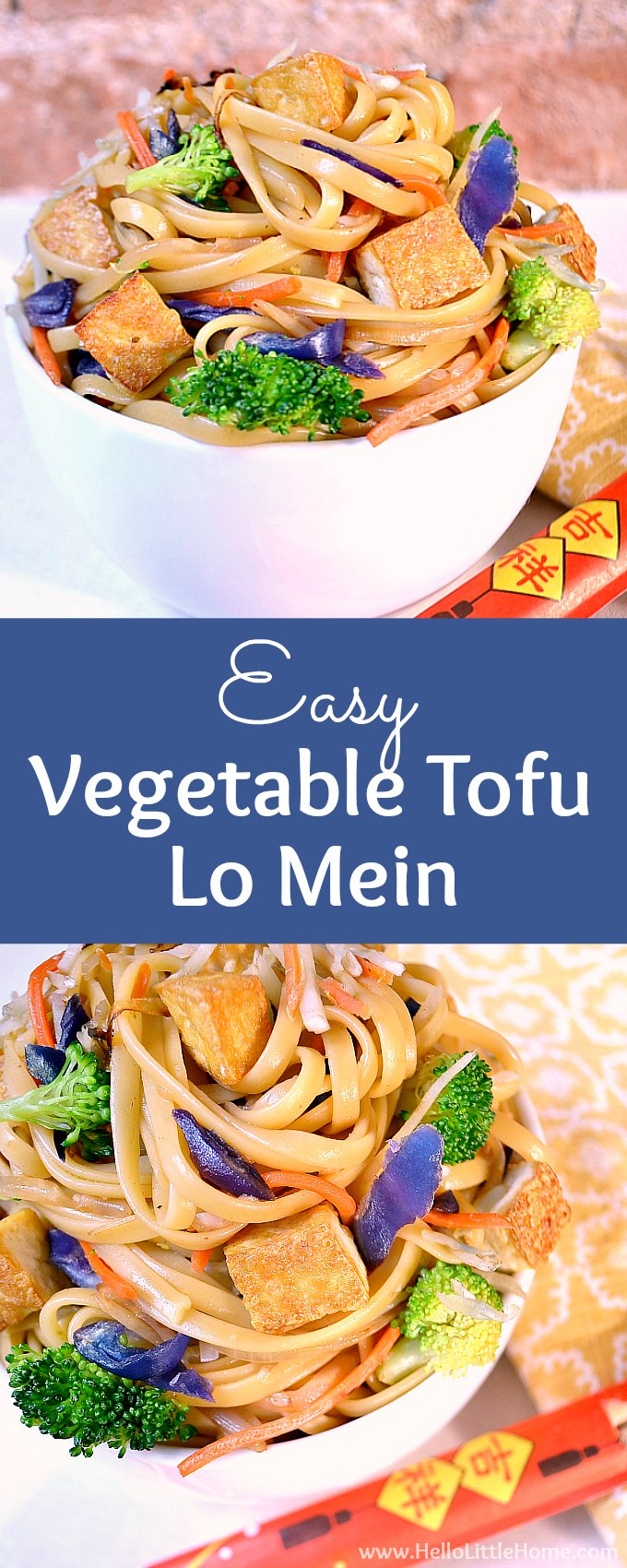 Easy Vegetable Tofu Lo Mein recipe … skip the Chinese takeout and make this tasty vegetarian lo mein instead! This easy lo mein recipe is ready fast and packed with veggies (cabbage, broccoli + more), noodles, and a delish sauce. Your whole family will love this homemade vegan lo mein recipe that has none of the junk, but all of the taste of your restaurant fave! | Hello Little Home #lomein #lomeinrecipe #veganlomein #vegetarianlomein #vegetarian #chinesefood #noodles #veganrecipes #stirfry
