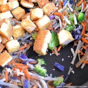 Combining the tofu and veggies for the lo mein