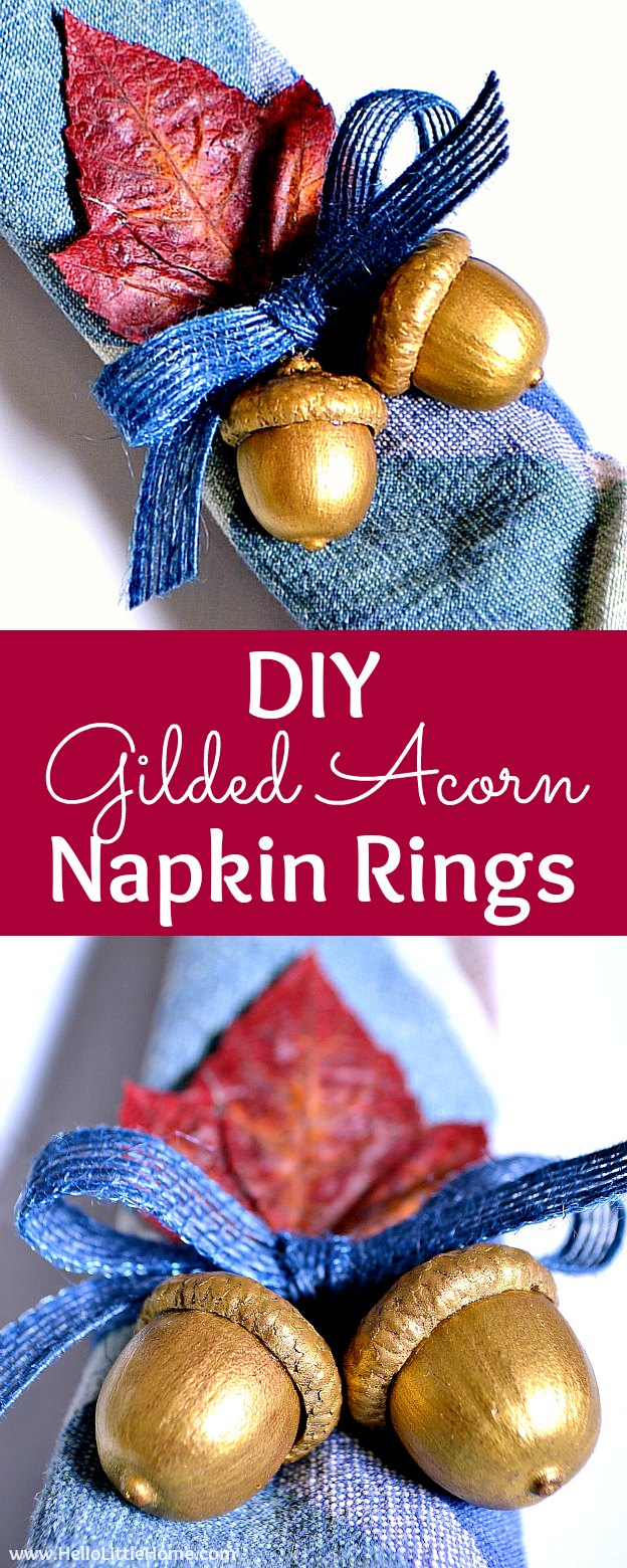 DIY Acorn Napkin Rings ... the perfect addition to a fall or Thanksgiving tablescape or dinner party! Looking for Thanksgiving napkin ring ideas? Learn how to make these cute diy napkin rings. These homemade napkin rings are a simple and easy way to dress up an autumn place setting. | Hello Little Home