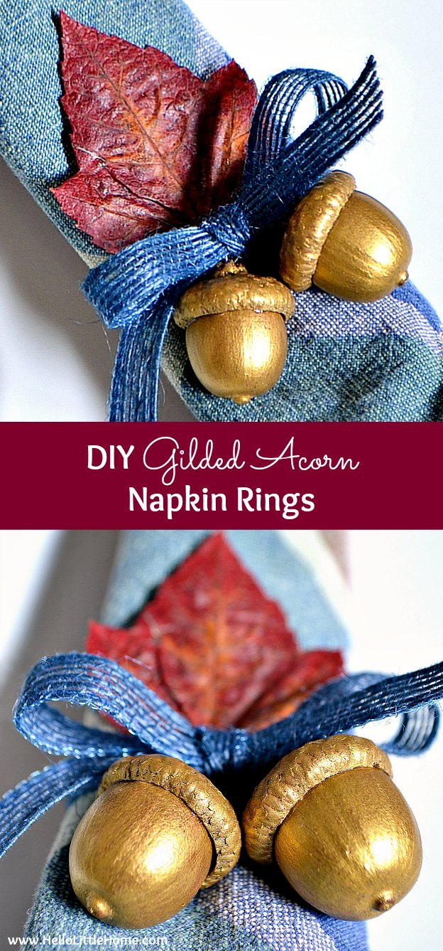 Diy gilded acorn napkin rings for Diy fall napkin rings