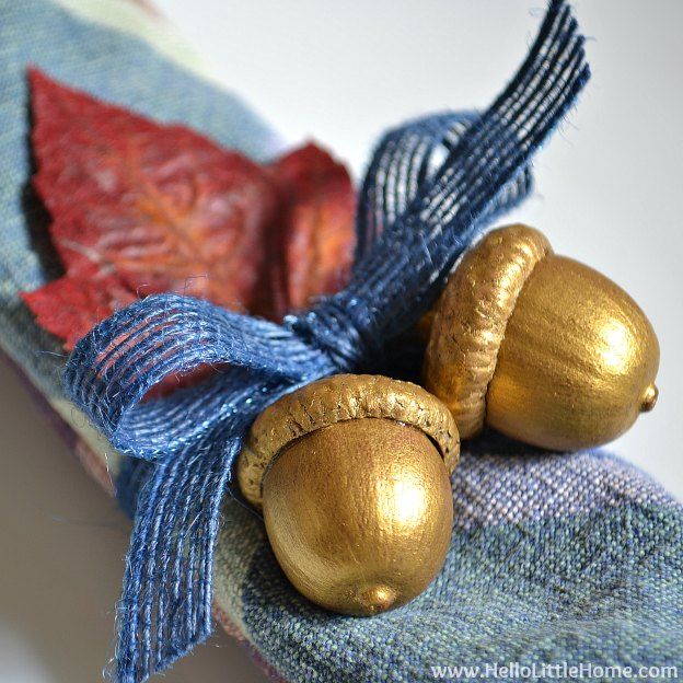 DIY Gilded Acorn Napkin Rings   Hello Little Home #fall #FallDecorating #Thanksgiving