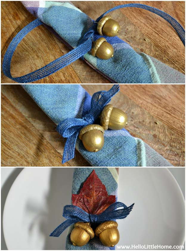 DIY Gilded Acorn Napkin Rings: Assembly | Hello Little Home #fall #FallDecorating #Thanksgiving