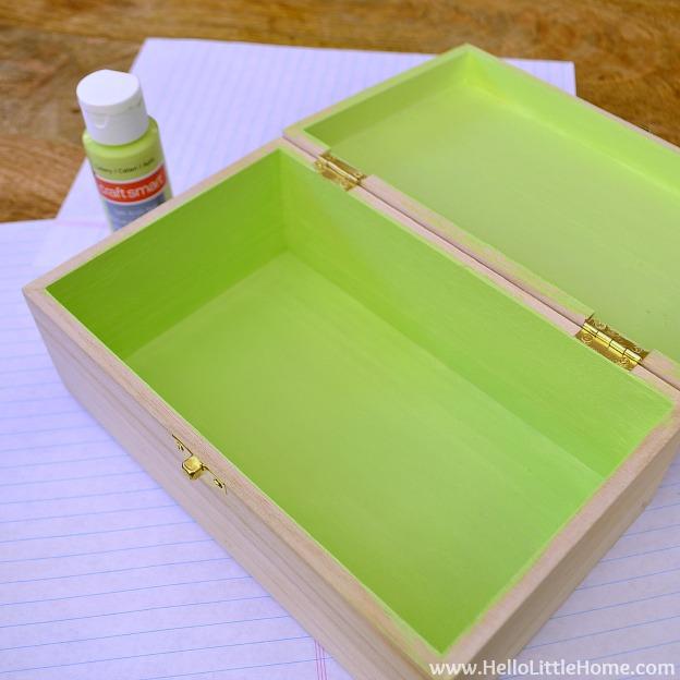 DIY Kids Treasure Box: Paint Inside of Box | Hello Little Home #craft #paint #GiftIdea