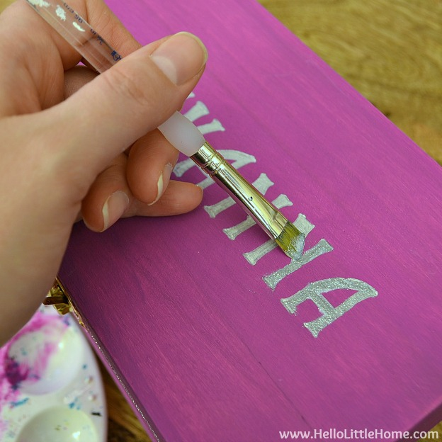 DIY Kids Treasure Box: Paint Letters with Glitter Paint | Hello Little Home #craft #paint #GiftIdea