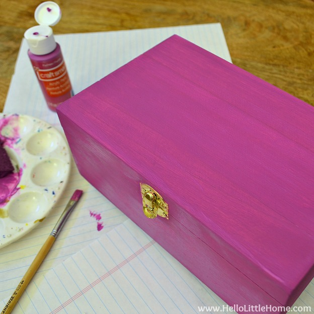 DIY Kids Treasure Box: Paint Outside of Box | Hello Little Home #craft #paint #GiftIdea