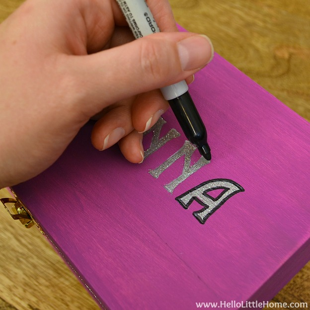 DIY Kids Treasure Box: Trace Letters with Sharpie | Hello Little Home #craft #paint #GiftIdea