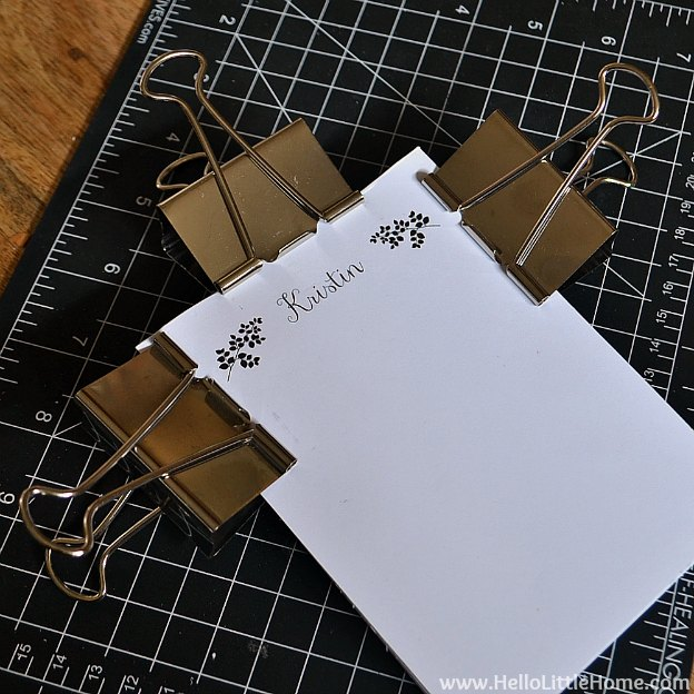 DIY Personalized Notepads: Letting Spine Dry | Hello Little Home #PaperCraft #HolidayGift