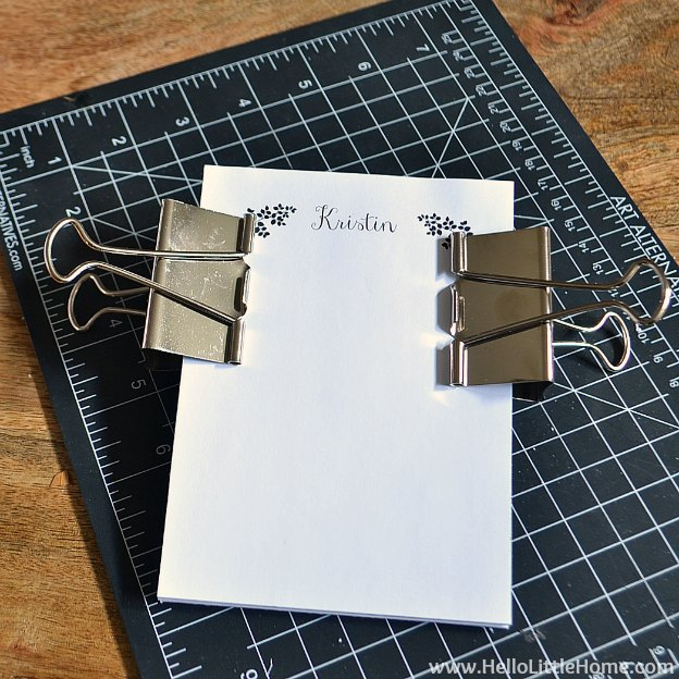 DIY Personalized Notepads: Attaching Binder Clips | Hello Little Home #PaperCraft #HolidayGift