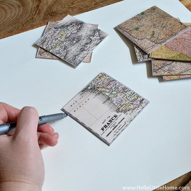 DIY Vintage French Map Coasters: Applying Silver Marker | Hello Little Home #craft #papercraft