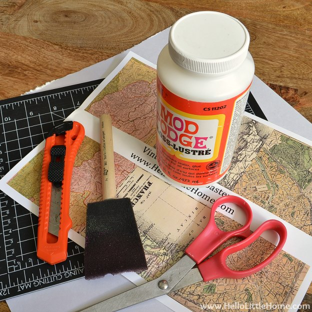DIY Vintage French Map Coasters: Supplies | Hello Little Home #craft #papercraft