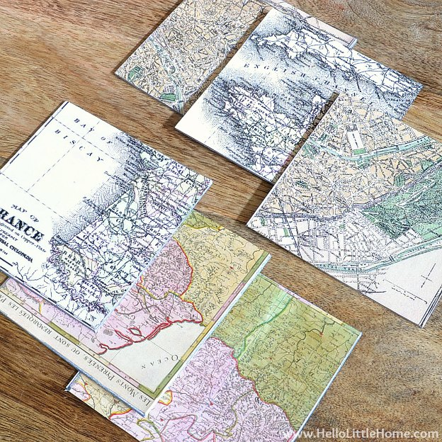 DIY Vintage French Map Coasters | Hello Little Home #craft #papercraft