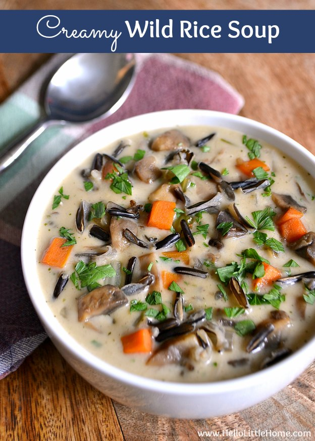 Creamy Wild Rice Soup ... a rich, delicious vegetarian soup recipe that's the perfect addition to your Thanksgiving or seasonal table! | Hello Little Home