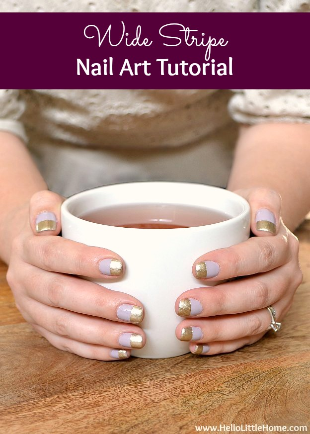 Easy Wide Stripe Nail Art Tutorial! Learn how to add horizontal stripes to your nails with tape … it's simple and the results are awesome. This step by step DIY stripe nail art tutorial is a fun and classy way to experiment with nailart, and it's perfect for beginners. Includes tips for choosing polish color combos for the prettiest manicures! | Hello Little Home #nailart #nailarttutorial #manicure #diymanicure #easynailart #stripenailart