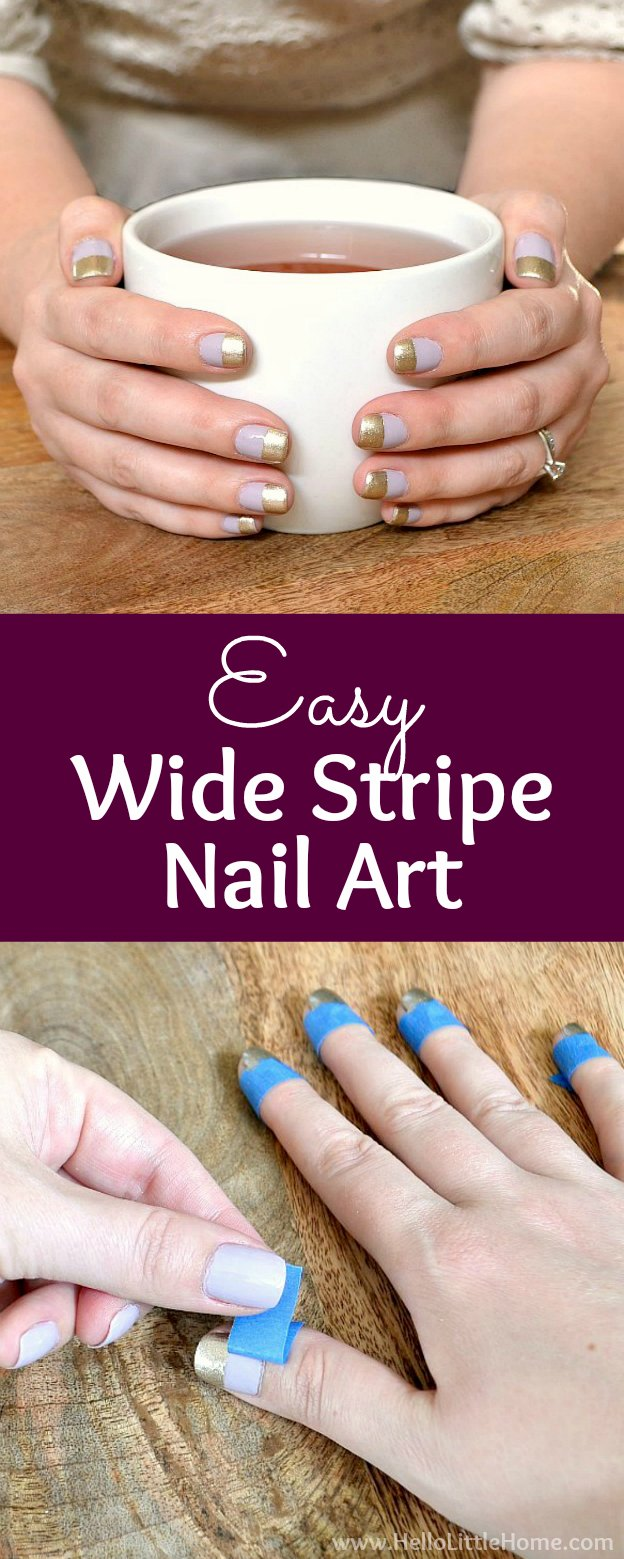 Easy Wide Stripe Nail Art Perfect For Beginners Hello Little Home