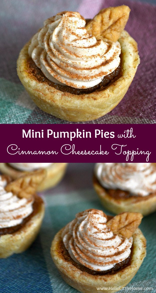 These Mini Pumpkin Pies with Cinnamon Cheesecake Topping are the perfect addition to your Thanksgiving table! | Hello Little Home