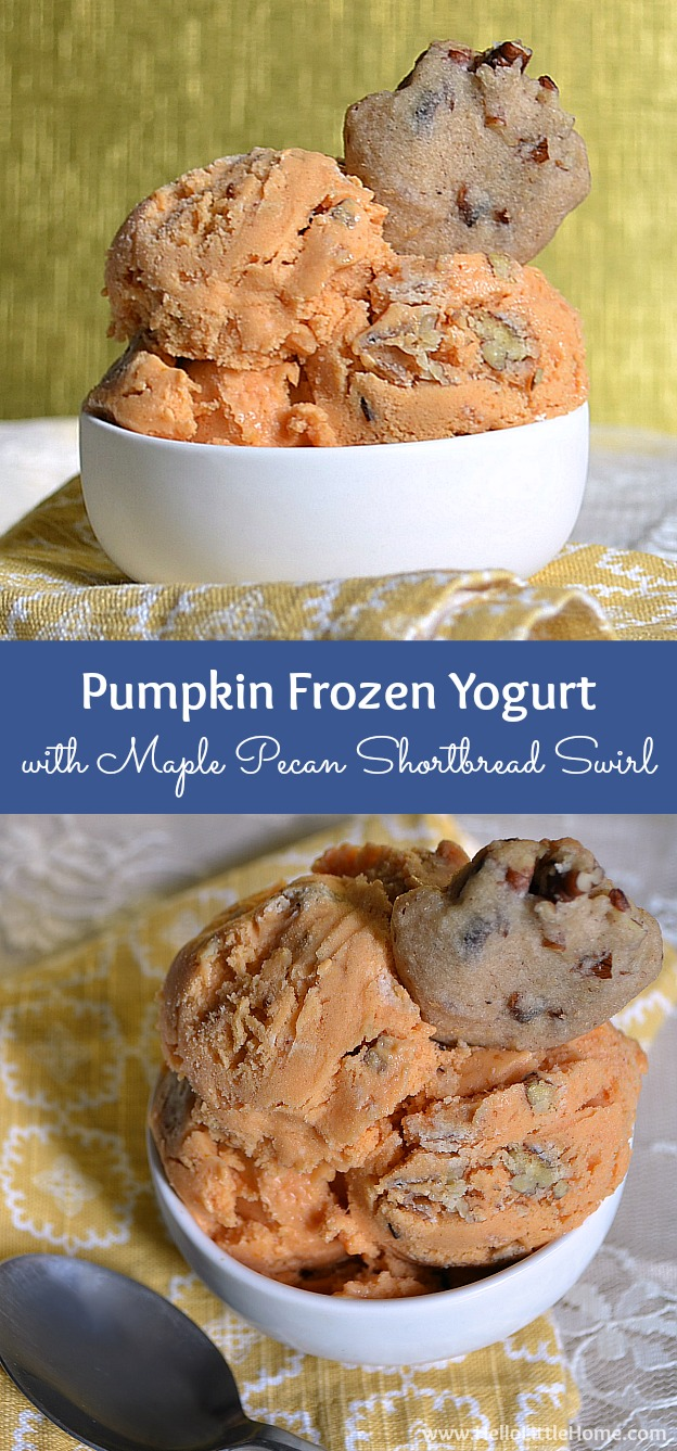 Pumpkin Frozen Yogurt with Maple Pecan Shortbread Swirl ... treat yourself this delicious fall dessert! | Hello Little Home