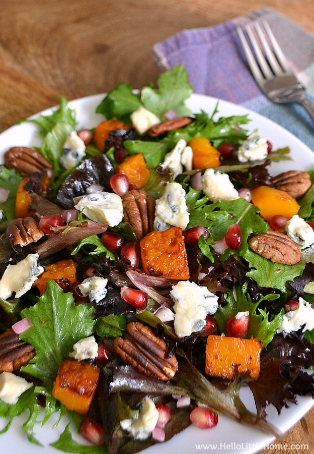 Roasted Butternut Squash and Gorgonzola Salad ... a delicious vegetarian side dish! This easy to make recipe is the perfect addition to your holidays meals. | Hello Little Home