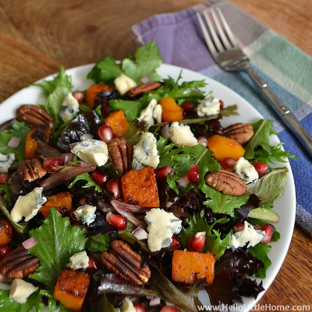 Roasted Butternut Squash and Gorgonzola Salad | Hello Little Home #BlogsgivingDinner