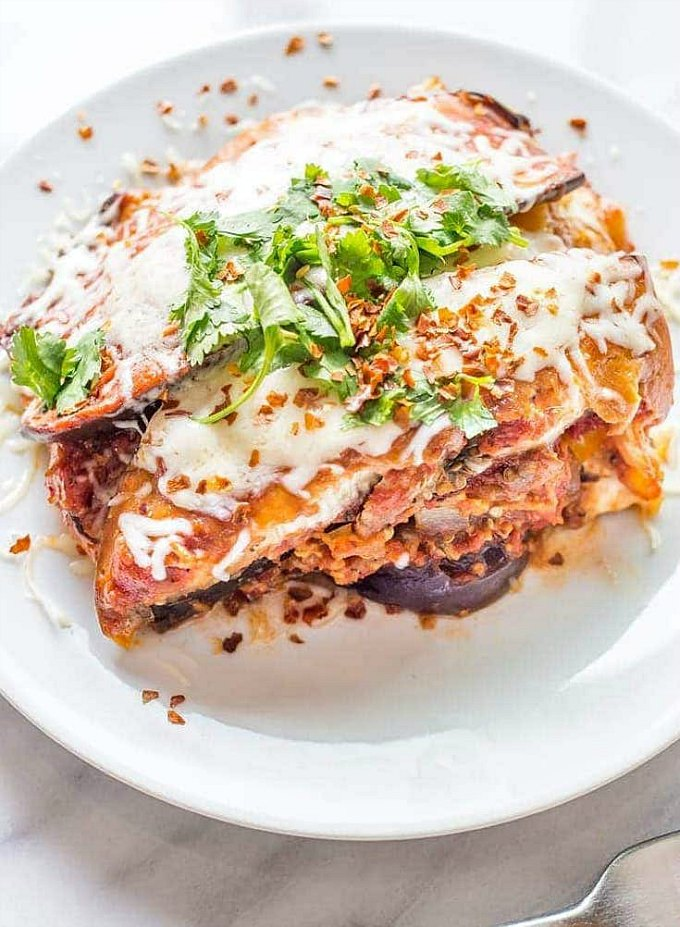 Easy Slow Cooker Eggplant Lasagna served on a white plate.