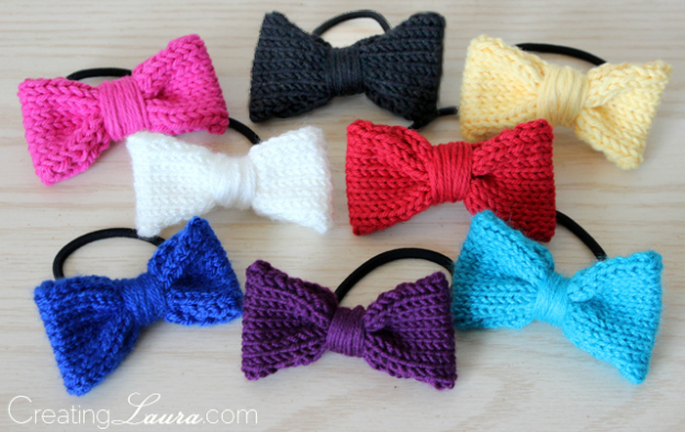 DIY Gift Ideas for Everyone: Knit Hair Bows | Hello Little Home #crafts #holidays #Christmas