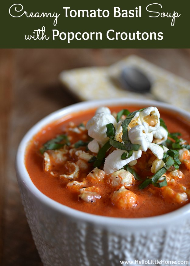 Creamy Tomato Basil Soup from Hello Little Home featured on Belle of the Kitchen