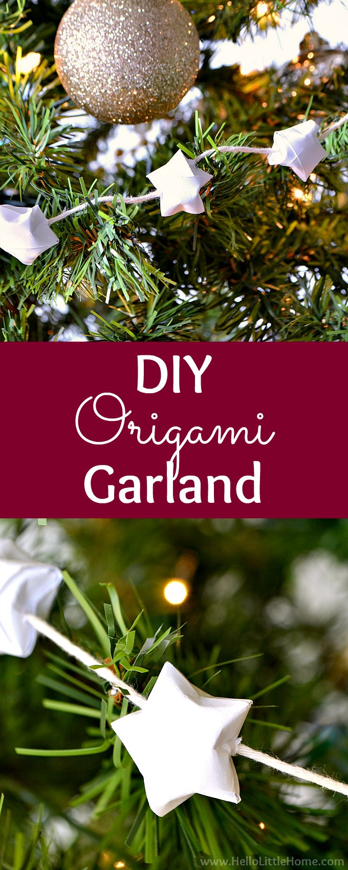 DIY Origami Lucky Star Garland! Learn how to fold Origami Lucky Stars. Simple step-by-step photo tutorial. Then, use the mini Origami Stars to make a garland. Perfect for decorating your home or Christmas trees. Once you learn how to make this DIY Christmas Tree Garland, you will be hooked. Such a fun and easy Christmas craft and origami pattern! | Hello Little Home #origami #origamipattern #origamiturtorial #origamistar #origamiluckystars #christmascrafts #christmastreegarland #papercrafting