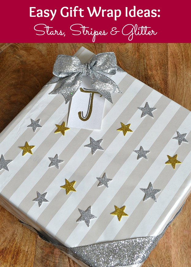 Easy Gift Wrap Ideas: Stars, Stripes & Glitter! Plus, get my easy present wrapping tips! | Hello Little Home