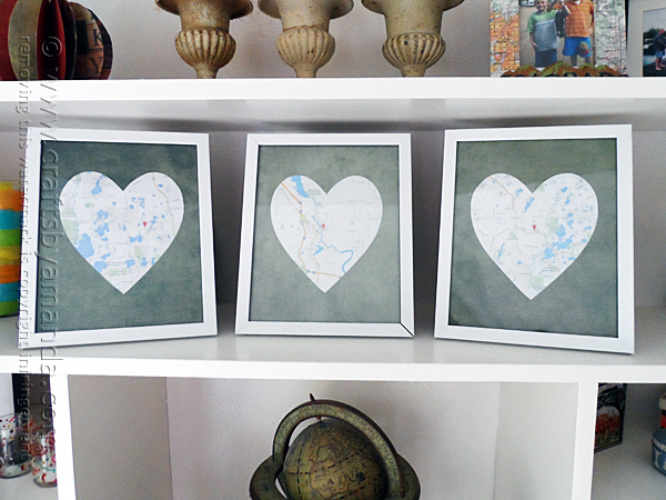 DIY Gift Ideas for Everyone: Framed Heart Maps | Hello Little Home #crafts #holidays #Christmas