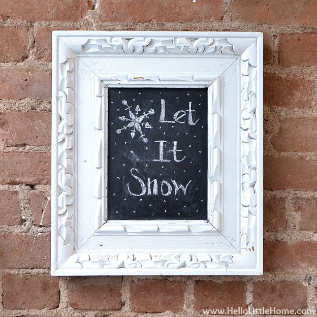 Holiday Apartment Tour: Let It Snow Chalkboard | Hello Little Home #Christmas #holidays #DIY
