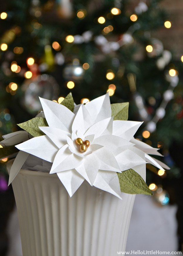Holiday Apartment Tour: Paper Pointsettias | Hello Little Home #Christmas #holidays #DIY