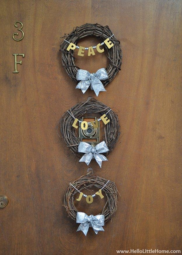 Holiday Apartment Tour: Peace, Love, Joy Wreaths| Hello Little Home #Christmas #holidays #DIY