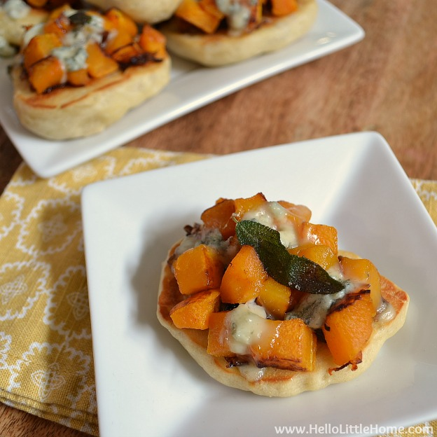 Mini Roasted Butternut Squash and Gorgonzola Pizzas | Hello Little Home #appetizer #snack #vegetarian