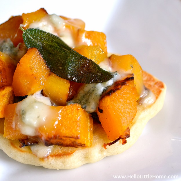 Mini Roasted Butternut Squash and Gorgonzola Pizzas