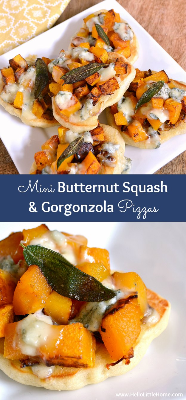 Mini Roasted Butternut Squash and Gorgonzola Pizzas ... this amazing vegetarian pizza recipe is just as perfect for a party as it is for a busy weeknight! | Hello Little Home