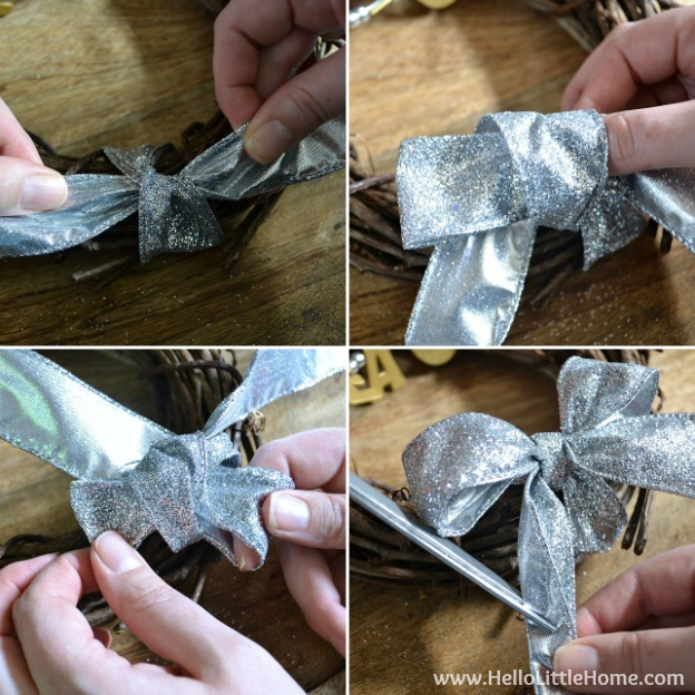 Step by step directions for making a DIY Mini Silver and Gold Peace Wreath! It's cute, plus quick and easy to make ... the perfect Christmas Decoration! | Hello Little Home