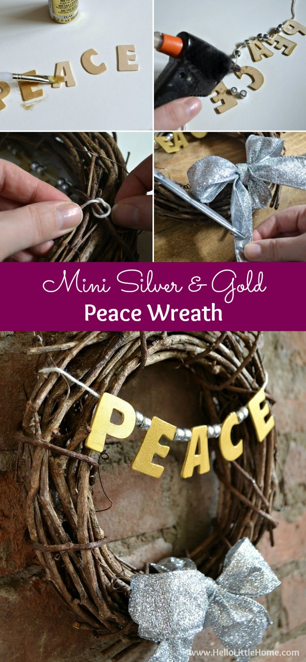 This Mini Silver and Gold Peace Wreath is cute, plus quick and inexpensive to make ... the perfect Christmas decoration! | Hello Little Home