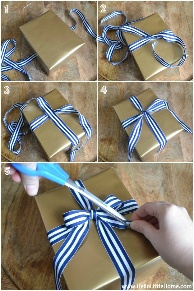 How to Tie a Bow! Plus, get my easy Present Wrapping Tips and 3 fun Gift Wrap Ideas! | Hello Little Home