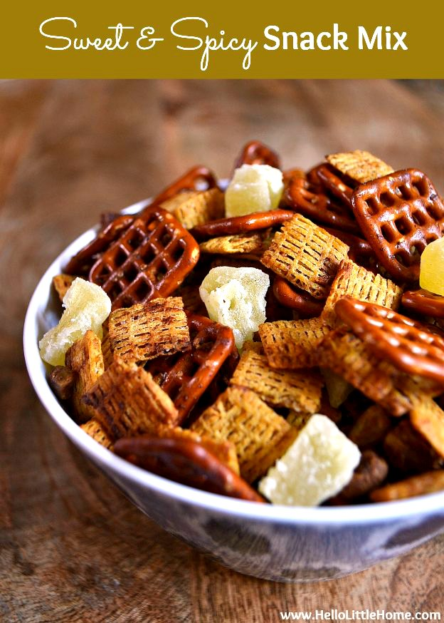Sweet and Spicy Snack Mix ... the perfect appetizer for any party and a great game day recipe! | Hello Little Home